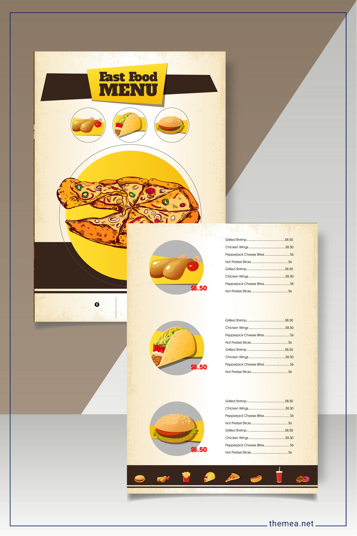 Fast food menu template for restaurant