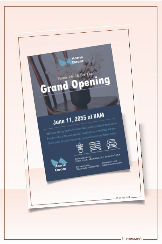 Free furniture decor store grand opening flyer template