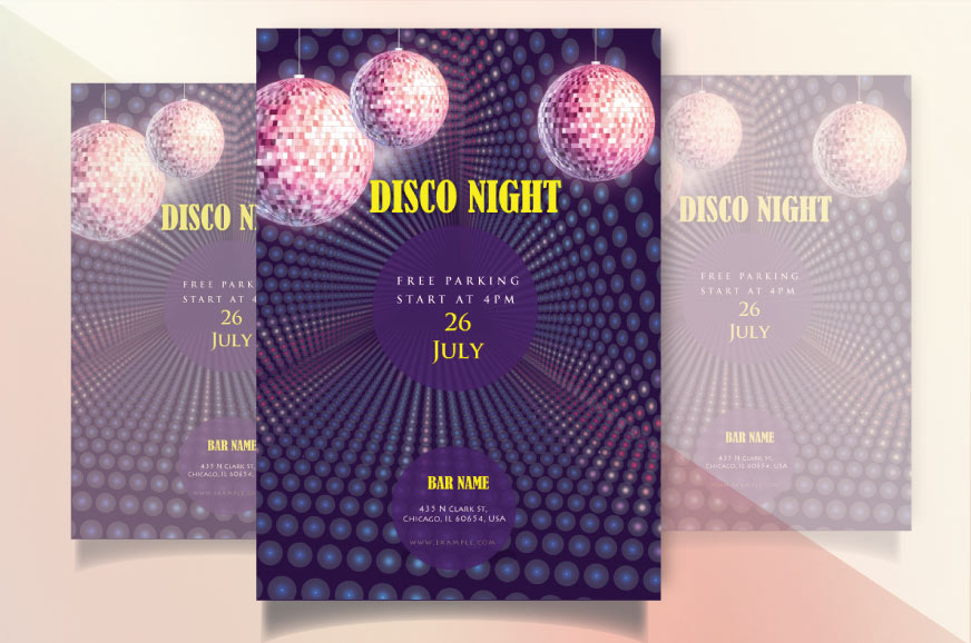 Disco music night flyer invitation