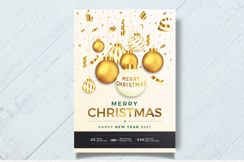 Golden Merry Christmas greetings card