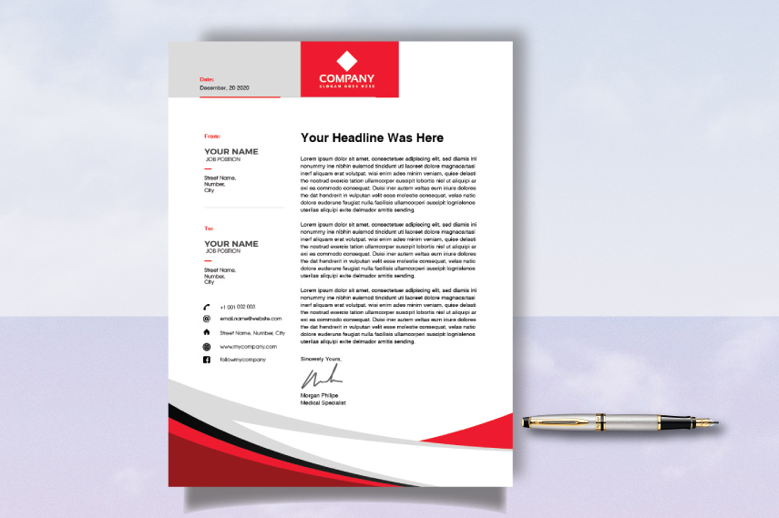 Red and white Company letterhead