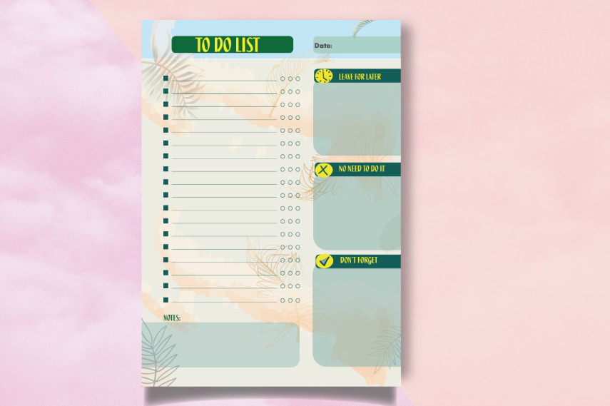 Daily planner with leaves