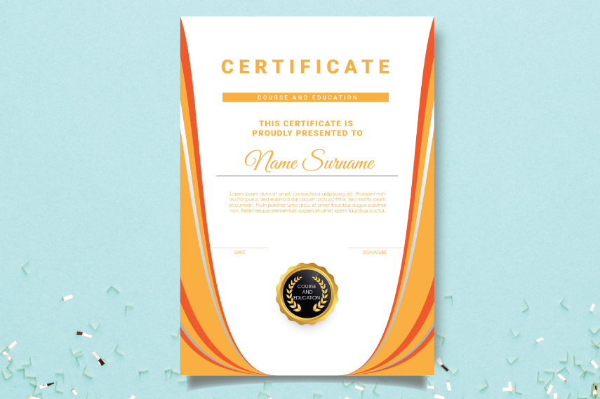 Borderless wavy education certificate