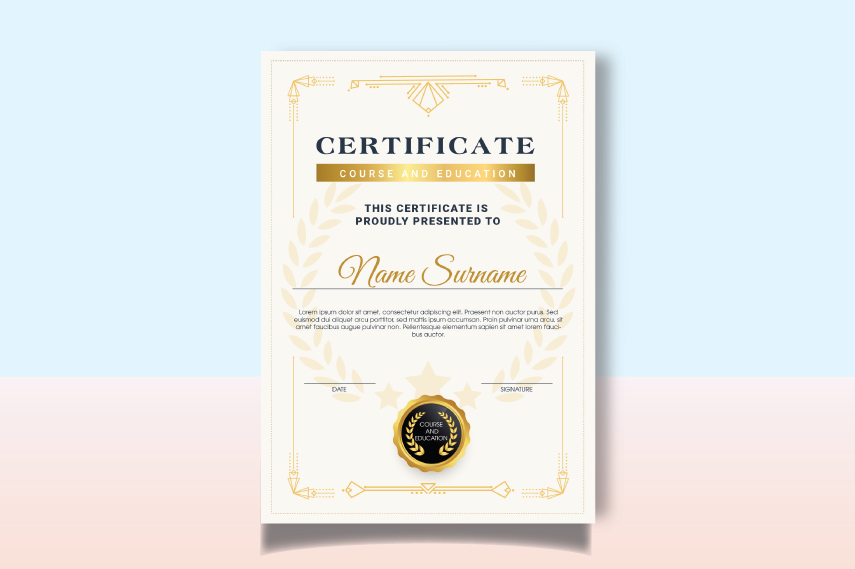 Course and education certificate template