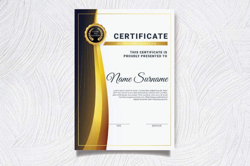 Certificate with curves border