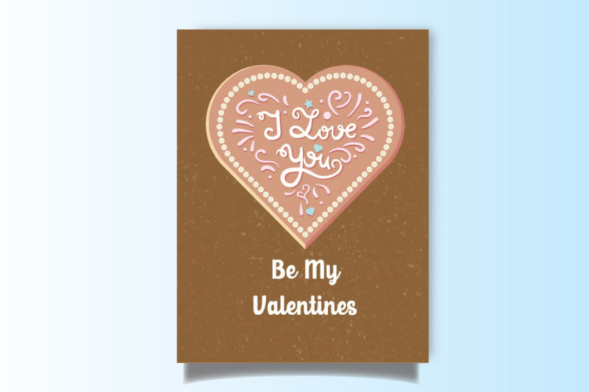 Be my Valentines card with heart