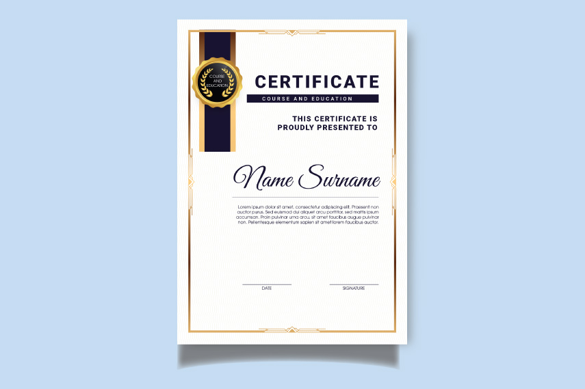 Stunning certificate with ribbons