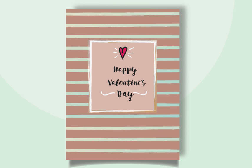 Be my Valentines card with stripes