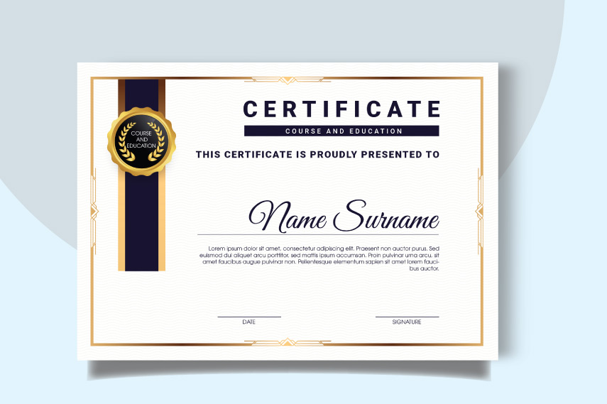 Stunning certificate of education with ribbons