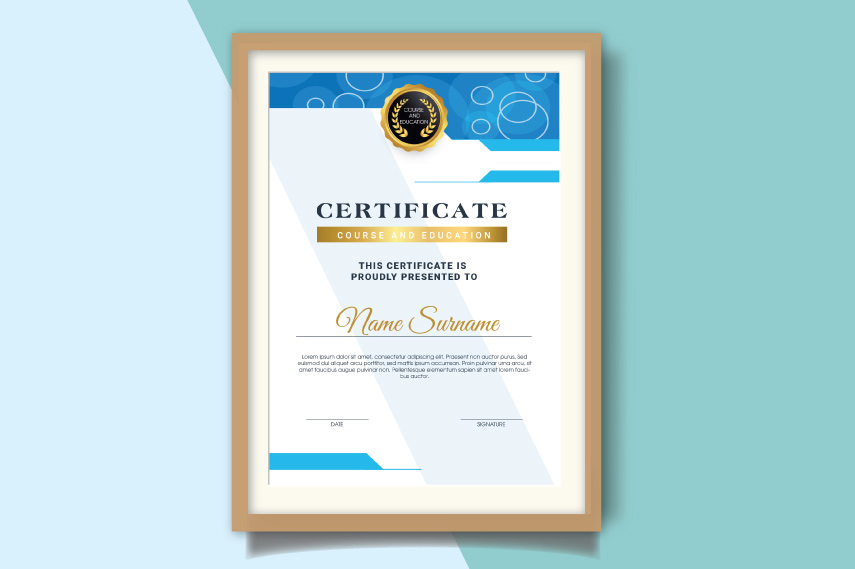 Blue certificates of education template