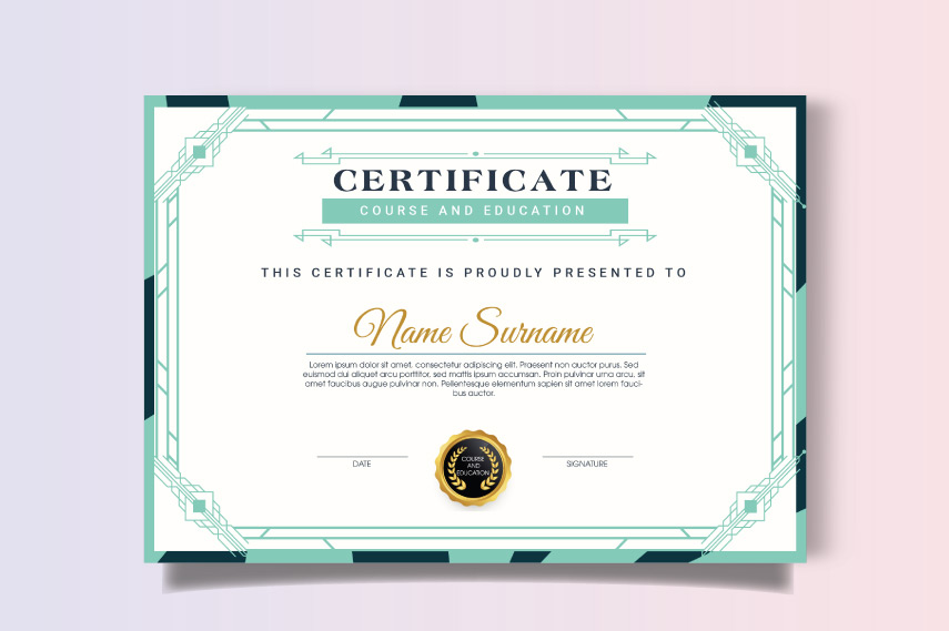 Modern diploma of course with borders
