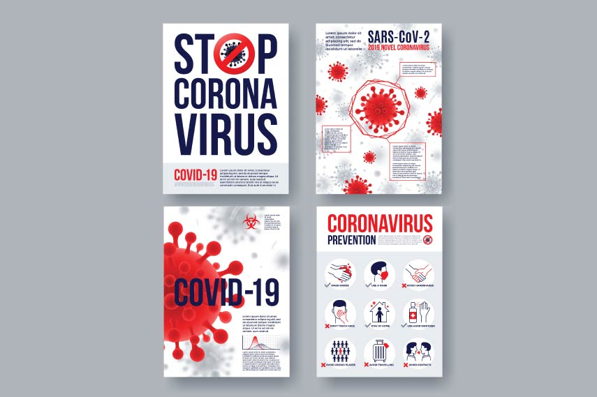 Coronavirus photo set with infographics elements